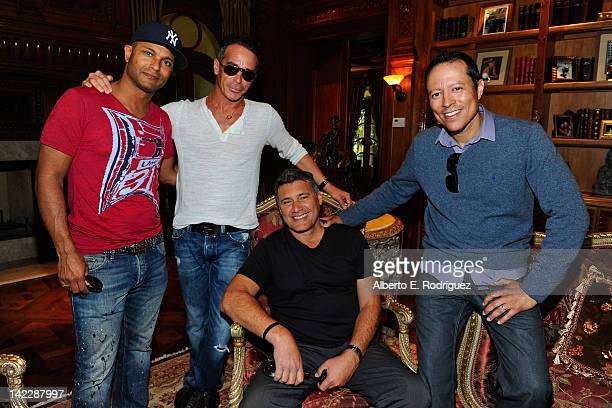 Writer Scott J Foster producer/desinger Lloyd Klein director/actor Yancey Arias and actor Steven Bauer behind the scenes on the set of Success Drive...