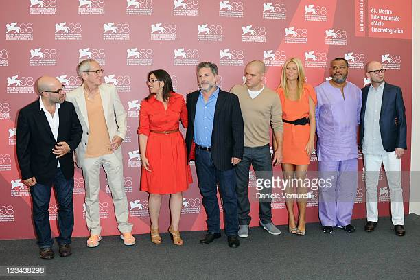 Writer Scott Z Burns producers Michael Shamberg Stacey Sher and Gregory Jacobs and actors Matt Damon Gwyneth Paltrow Laurence Fishburne and director...