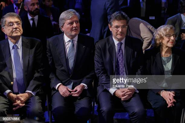 Writer Sergio Ramirez Minister of Culture Inigo Mendez de Vigo Minister of Justice Rafael Catala and Mayor of Madrid Manuela Carmena attend the 'El...