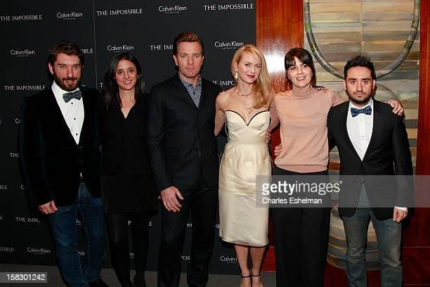 Writer Sergio Sanchez producer Belen Atienza actors Ewan McGregor and Naomi Watts survivor Maria Belon and director JA Bayona attend The Impossible...