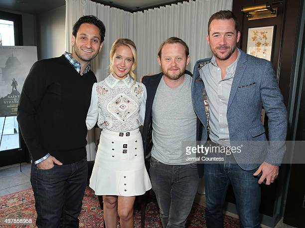 Writer Seth Fisher actors Anna Camp Michael Jibson and Barry Sloane attend National Geographic Channel celebrates the premiere of the miniseries...