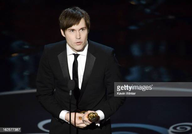 "Writer Shawn Christensen accepts the Best Live Action Short Film award for ""Curfew"" onstage during the Oscars held at the Dolby Theatre on February..."