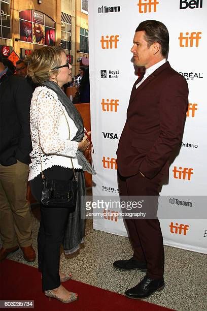 Writer Sherry White and actor Ethan Hawke meet during the 'Maudie' premiere held at The Elgin Theatre during the Toronto International Film Festival...