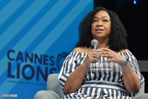 Writer Shonda Rhimes speaks on stage during the Getty Images session at the Cannes Lions 2019 : Day Four on June 20, 2019 in Cannes, France.