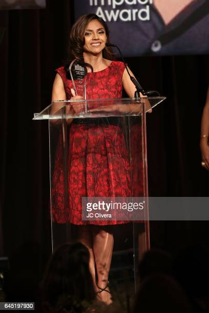 Writer Silvia Olivas speaks onstage during the 20th Annual National Hispanic Media Coalition Impact Awards Gala at Regent Beverly Wilshire Hotel on...