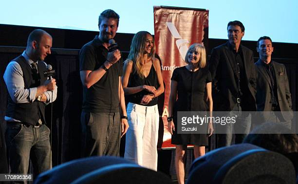Writer Simon Barrett director Adam Wingard actors Sharni Vinson Barbara Crampton Rob Moran and Nicholas Tucci speak onstage at the You're Next QA...