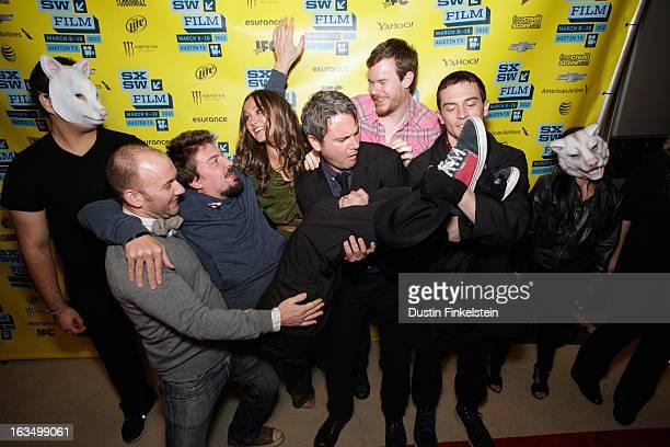 Writer Simon Barrett director Adam Wingard and actors Sharni Vinson AJ Bowen Joe Swanberg and Nicholas Tucci arrive at the screening of You're Next...