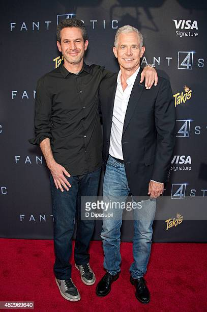 Writer Simon Kinberg and producer Hutch Parker attend the 'Fantastic Four' New York Premiere at Williamsburg Cinemas on August 4 2015 in New York City