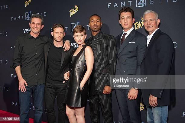 Writer Simon Kinberg Jamie Bell Kate Mara Michael B Jordan Miles Teller and producer Hutch Parker attend the 'Fantastic Four' New York Premiere at...