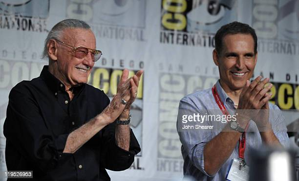 Writer Stan Lee and artist Todd McFarlane speak at Blood Red Dragon Press Conference during ComicCon 2011 at The Hilton San Diego Bayfront Hotel on...