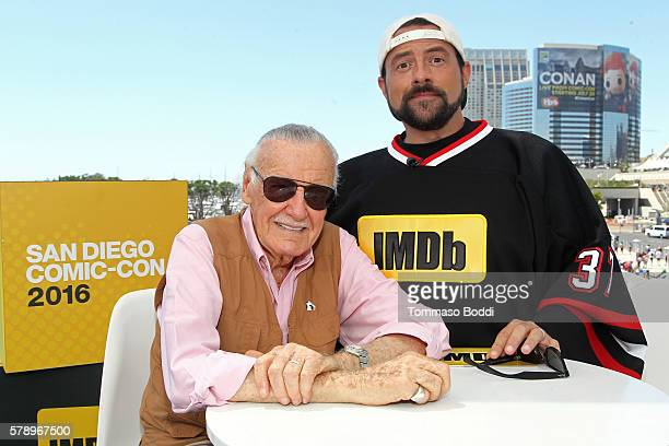 Writer Stan Lee and host Kevin Smith attend the IMDb Yacht at San Diego ComicCon 2016 Day Two at The IMDb Yacht on July 22 2016 in San Diego...