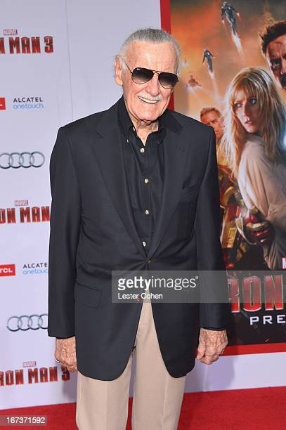 Writer Stan Lee arrives at the 'Iron Man 3' Los Angeles Premiere at El Capitan Theatre on April 24 2013 in Hollywood California
