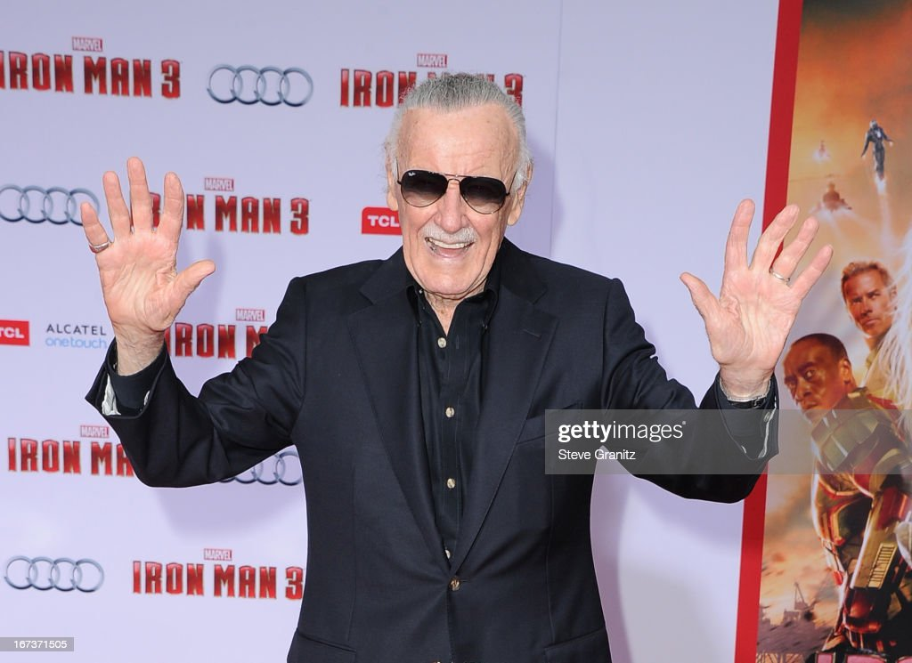 Writer Stan Lee arrives at the 'Iron Man 3' Los Angeles premiere at the El Capitan Theatre on April 24, 2013 in Hollywood, California.