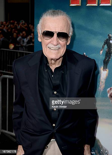 Writer Stan Lee arrives at the premiere of Walt Disney Pictures' 'Iron Man 3' at the El Capitan Theatre on April 24 2013 in Hollywood California