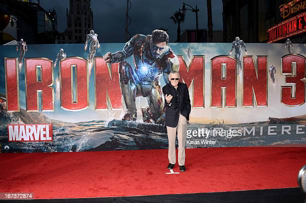 Writer Stan Lee arrives at the premiere of Walt Disney Pictures' Iron Man 3 at the El Capitan Theatre on April 24 2013 in Hollywood California