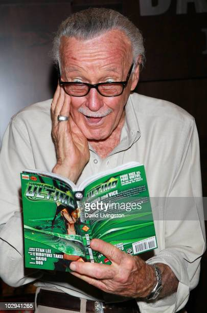 Writer Stan Lee attends a signing for Karakuridoji Ultimo Volume 1 and Karakuridoji Ultimo Volume 2 at Barnes Noble Booksellers at The Grove on July...
