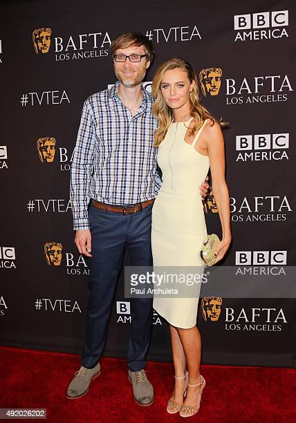 Writer Stephen Merchant and Actress Christine Marzano attend the BAFTA Los Angeles TV Tea 2015 at SLS Hotel on September 19 2015 in Beverly Hills...