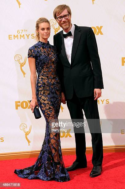 Writer Stephen Merchant and guest arrive at the 67th Annual Primetime Emmy Awards at the Microsoft Theater on September 20 2015 in Los Angeles...