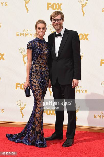 Writer Stephen Merchant and guest attend the 67th Annual Primetime Emmy Awards at Microsoft Theater on September 20 2015 in Los Angeles California