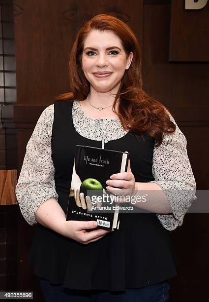 Writer Stephenie Meyer celebrates the tenth anniversary of 'Twilight' with a special QA at Barnes Noble at The Grove on October 12 2015 in Los...