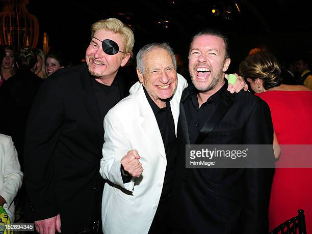 Writer Steve Haberman, actor Mel Brooks and actor Ricky Gervais attend HBO's Official Emmy After Party at The Plaza at the Pacific Design Center on...