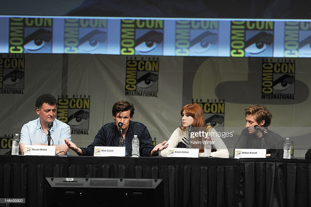 Writer Steven Moffat, actors Matt Smith, Karen Gillan and Arthur Darvill speak at BBC America's 'Doctor Who' Panel during Comic-Con International 2012 at San Diego Convention Center on July 15, 2012 in San Diego, California.