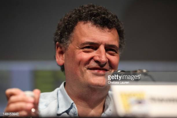 "Writer Steven Moffat attends the ""Doctor Who"" panel at Comic-Con International at San Diego Convention Center on July 15, 2012 in San Diego,..."