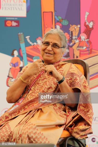 Writer Sudha Murty speaks during the Jaipur Literature Festival 2018 at Diggi Palace in Jaipur Rajasthan India on 26 Jan 2018