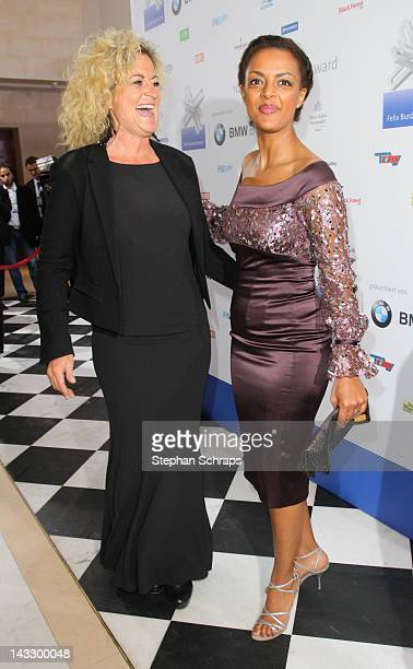 Writer Susanne Froehlich and actress Dennenesch Zoude attend the award ceremony of the 'Felix Burda Award' at the Hotel Adlon Unter den Linden on...