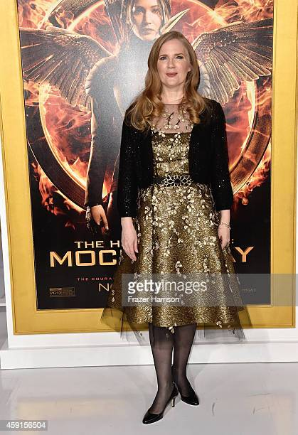 Writer Suzanne Collins attends the premiere of Lionsgate's The Hunger Games Mockingjay Part 1 at Nokia Theatre LA Live on November 17 2014 in Los...