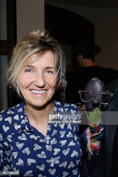 Writer Sylvie Bourgeois and her character Marcelline attend the One Woman Show by Christelle Chollet for the Inauguration of the Theatre de la Tour...