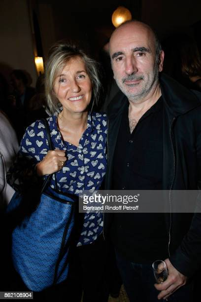 Writer Sylvie Bourgeois and her husband director Philippe Harel attend the One Woman Show by Christelle Chollet for the Inauguration of the Theatre...