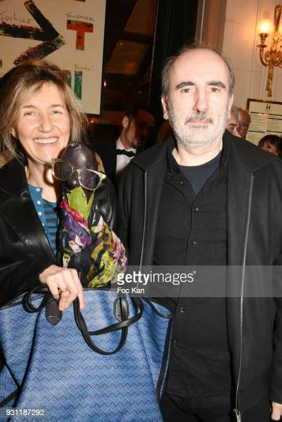 Writer Sylvie Bourgeois Harel her puppet Marceline L Aubergine and director Philippe Harel attend Marc Cerrone Exhibition Preview at Deux Magots on...