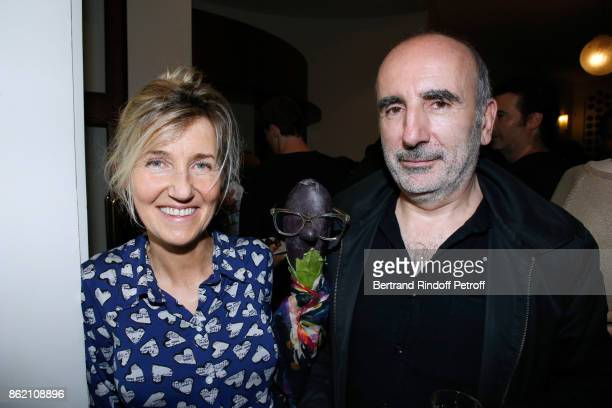 Writer Sylvie Bourgeois her character Marcelline and her husband director Philippe Harel attend the One Woman Show by Christelle Chollet for the...