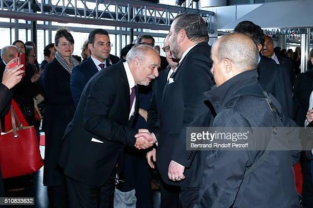 Writer Tahar Ben Jelloun and King Mohammed VI of Morocco attend King Mohammed VI of Morocco and French President Francois Hollande present the...