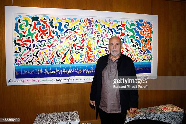 Writer Tahar Ben Jelloun attends the 'Paintings Poems from Tahar Ben Jelloun Furniture Scriptures from CSaccomanno ODayot' Press Preview at Galerie...