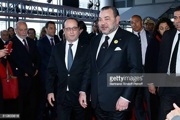 Writer Tahar Ben Jelloun French President Francois Hollande and King Mohammed VI of Morocco attend King Mohammed VI of Morocco and French President...