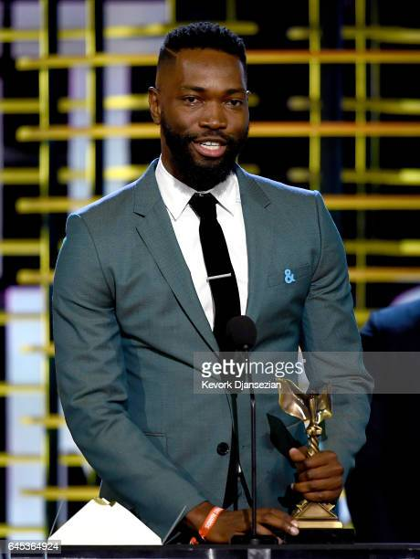Writer Tarell Alvin McCraney accepts the Best Screenplay award for 'Moonlight' onstage during the 2017 Film Independent Spirit Awards at the Santa...