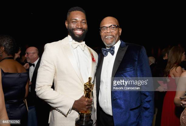 Writer Tarell Alvin McCraney and Actor Samuel L Jakson attend the 89th Annual Academy Awards Governors Ball at Hollywood Highland Center on February...