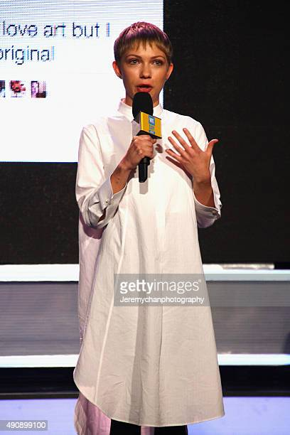 Writer Tavi Gevinson speaks during WE Day Toronto at the Air Canada Centre on October 1 2015 in Toronto Canada