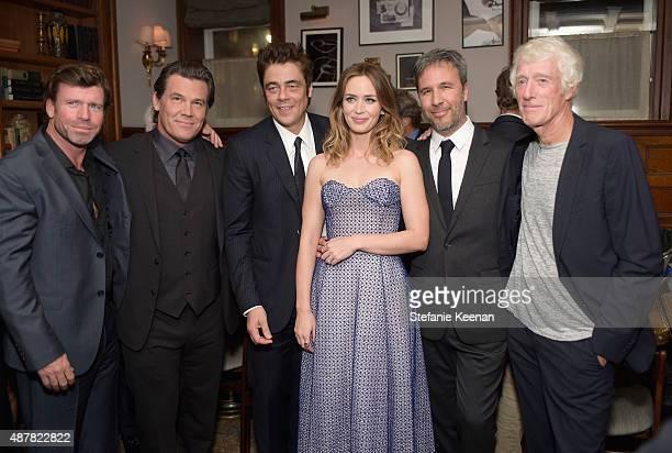 Writer Taylor Sheridan actors Josh Brolin Benicio Del Toro Emily Blunt director Denis Villeneuve and cinematographer Roger Deakins attend the Sicario...