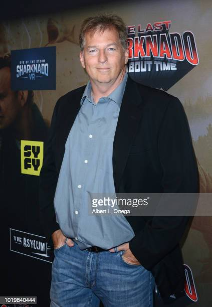 Writer Thunder Levin arrives for the Premiere Of The Asylum And Syfy's 'The Last Sharknado It's About Time' held at Cinemark Playa Vista on August 19...