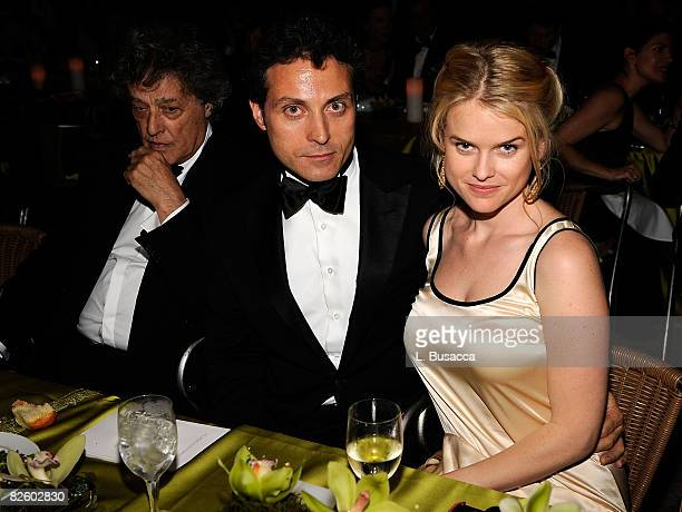 Writer Tom Stoppard, actor Rufus Sewell and actress Alice Eve attend the 62nd Annual Tony Awards after party on June 15, 2008 at Rockefeller Center...