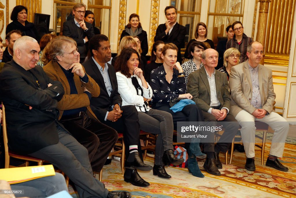 Writer Tonino Benacquista, Daniel Pennac , Dany Laferriere, Karine Tuil, Agns Mathieu-Daude, Jean-Louis Etienne and guest attend 'La Nuit de la Lecture' Launch Day at Ministere de la Culture on January 12, 2018 in Paris, France.