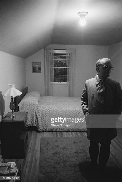 Writer Truman Capote in the upstairs bedroom where Nancy Clutter was killed Capote was in Holcomb Kansas for the filming of the movie In Cold Blood...
