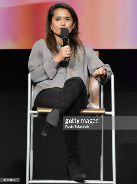 Writer Veena Sud speaks onstage at the Women in Entertainment and The Television Academy Foundation's Inaugural Women in Television Summit at Saban...