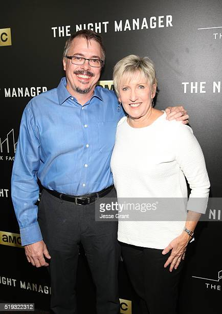 Writer Vince Gilligan and Holly Rice attend the premiere of AMC's The Night Manager at DGA Theater on April 5 2016 in Los Angeles California