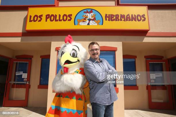 Writer Vince Gilligan attends the Better Call Saul Los Pollos Hermanos Pop Up Restaurant in Downtown LA on March 30 2017 in Los Angeles California