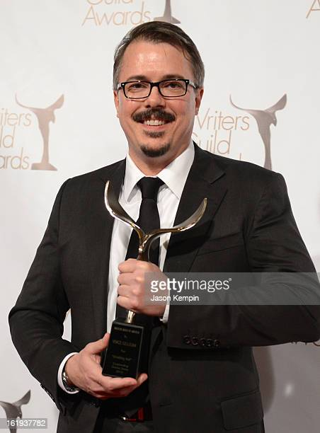 Writer Vince Gilligan winner of the Writers Guild Award for Outstanding Drama Series poses in the press room during the 2013 WGAw Writers Guild...