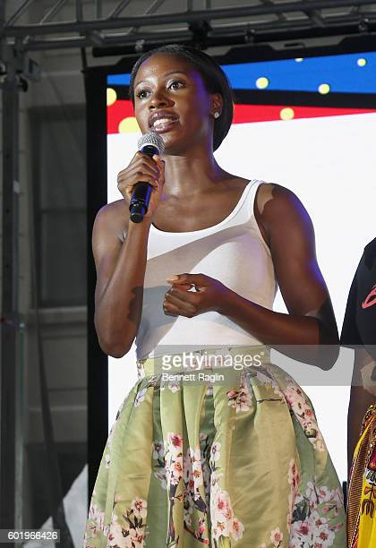 Writer Wayetu Moore speaks on stage during the 2016 Essence Street Style Block Party Show at DUMBO on September 10 2016 in Brooklyn Borough of New...